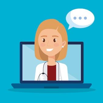 Laptop com caráter de médico e ícones de telemedicina
