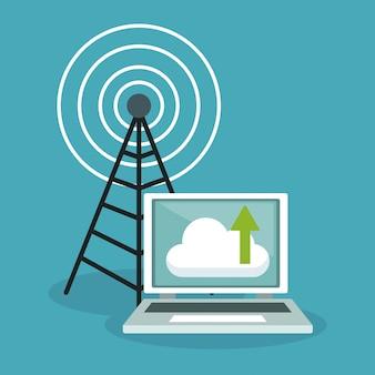 Laptop com computação em nuvem e antena