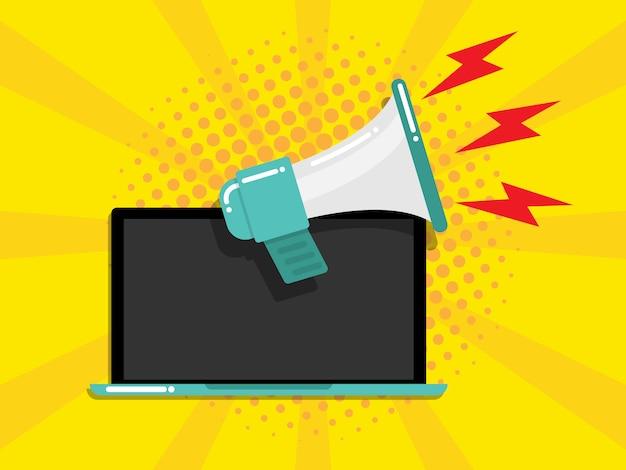 Laptop com conceito de marketing on-line de megafone