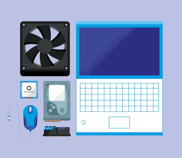 Laptop com conjunto de ícones