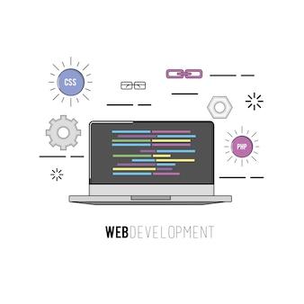 Laptop com dados de software de programação de código