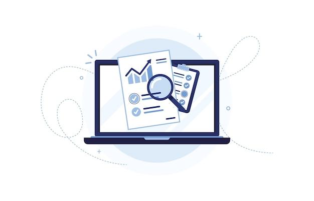Laptop com documento de programação de vendas e uma prancheta para marketing empresarial