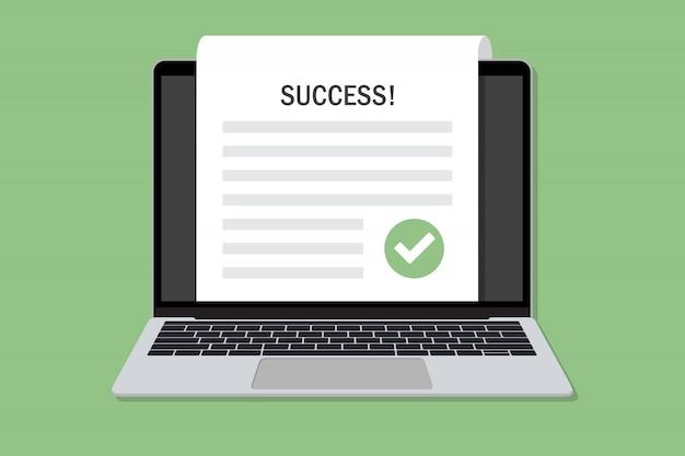 Laptop com documento de sucesso com carrapato em um design plano