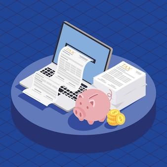 Laptop com documento fiscal e dinheiro