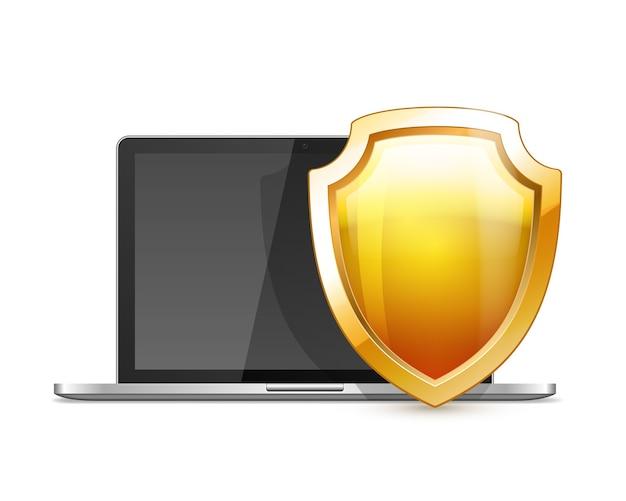 Laptop com escudo dourado