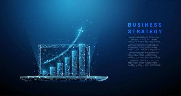 Laptop com gráfico crescendo. design de estilo low poly. conceito de estratégia de negócios.