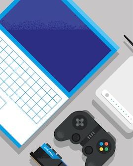 Laptop com grupo de ícones