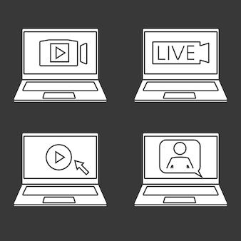 Laptop com homem e balão de fala para videoconferência webinar videoconferência