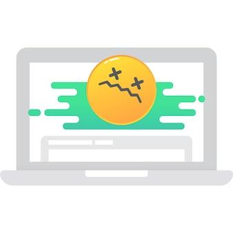 Laptop com ícone de vetor de conexão de internet ruim