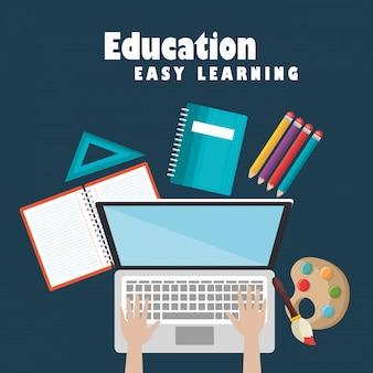 Laptop com ícones de educação fácil de educação