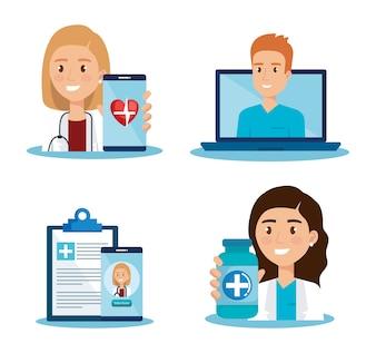 Laptop com ícones de médico e telemedicina