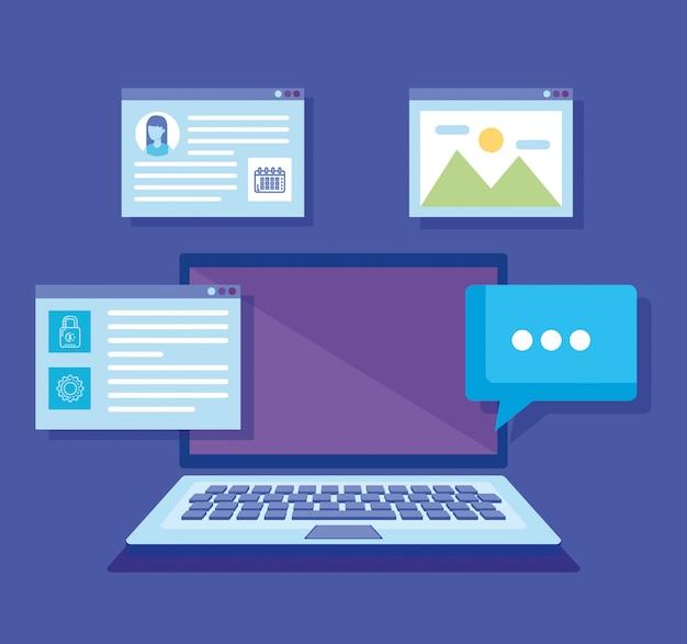 Laptop com ícones de mídias sociais