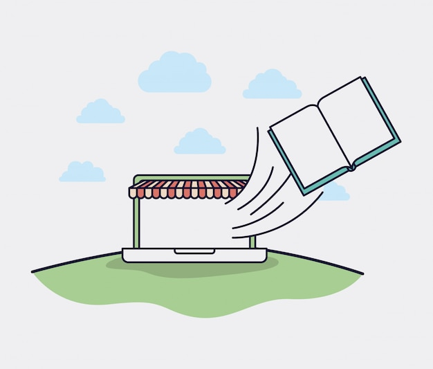 Laptop com ícones de parasol e ecommerce