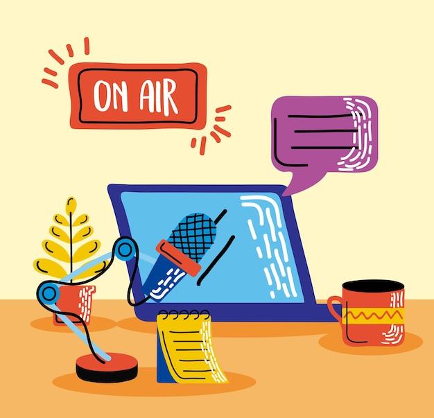 Laptop com ícones de podcast