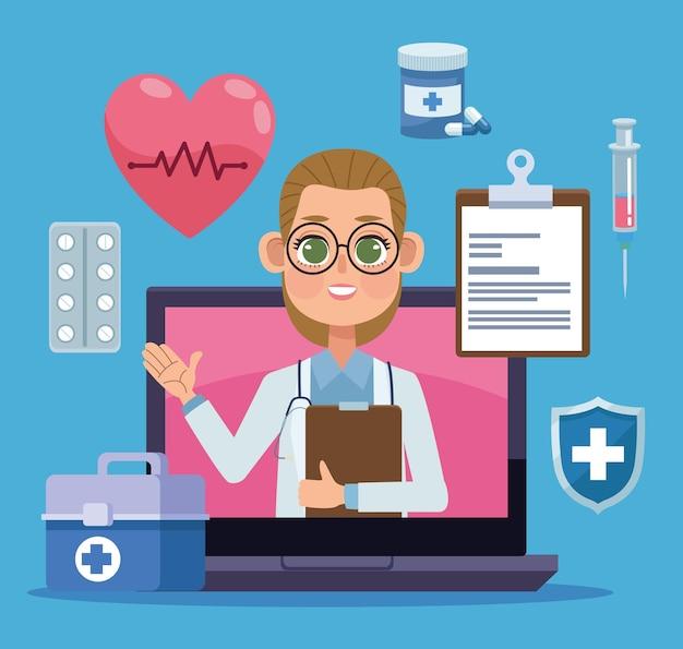 Laptop com ícones de telemedicina