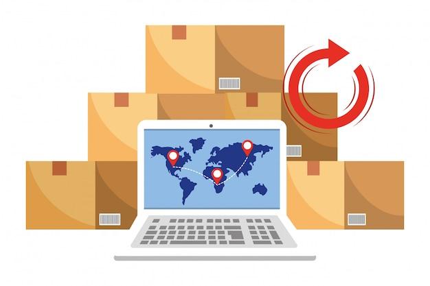 Laptop com ilustração de caixas