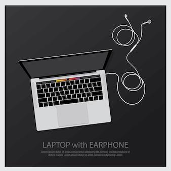 Laptop com ilustração de fones de ouvido de música