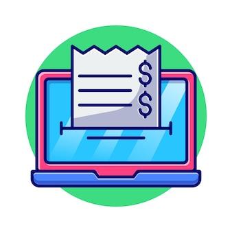 Laptop com ilustração plana de notas e moedas