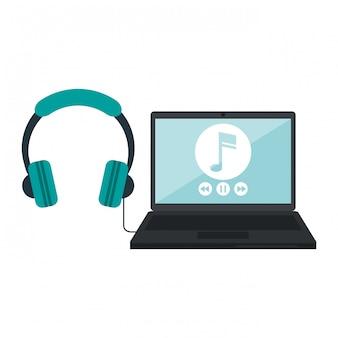 Laptop com leitor de música