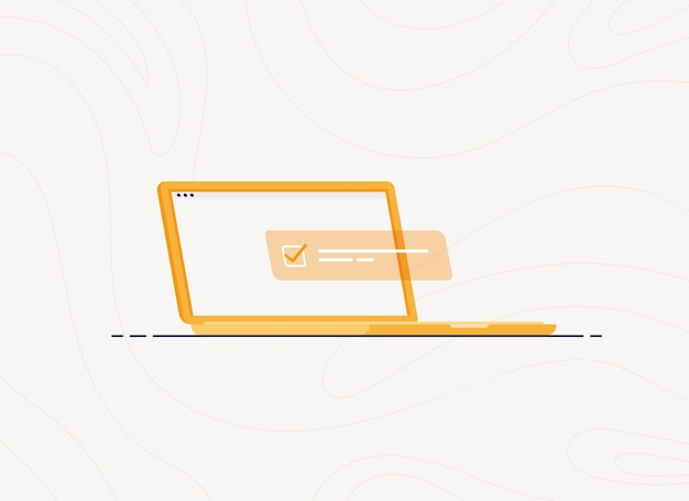 Laptop com lista de tarefas concluída