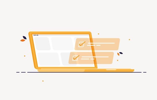 Laptop com lista de tarefas concluídas