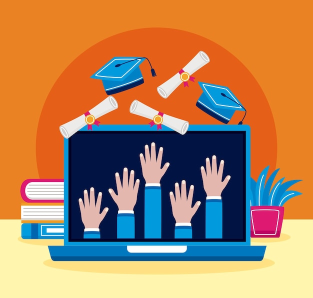 Laptop com mãos graduadas para cima