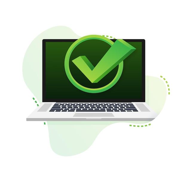 Laptop com marca de seleção ou notificação de carrapato em padrão de bolha. escolha aprovada. aceite ou aprove a marca de seleção. ilustração vetorial.