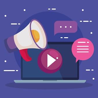 Laptop com megafone play e bolhas, ilustração de tema de comércio eletrônico de marketing digital