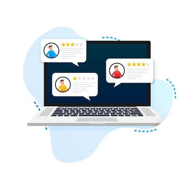 Laptop com mensagens de avaliação de avaliações do cliente, tela do laptop e avaliações online