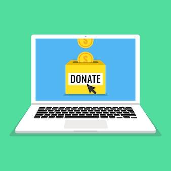 Laptop com moedas de ouro e caixa de doações