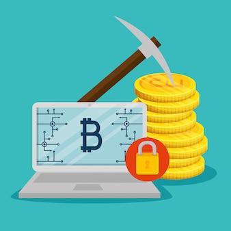 Laptop com moedas e moedas eletrônicas bitcoin