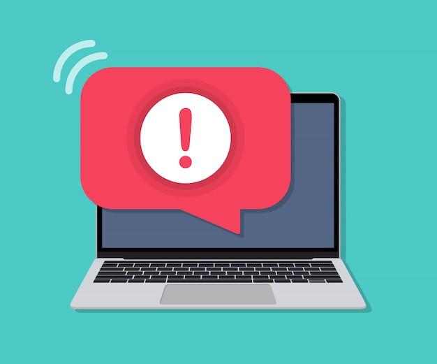Laptop com notificação de mensagem de alerta em um design plano