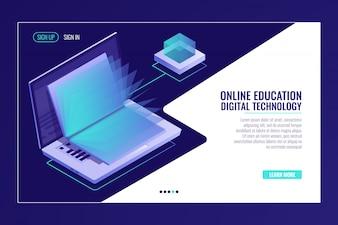 Laptop com o livro aberto, aprendendo o conceito de educação on-line, biblioteca de elétrons