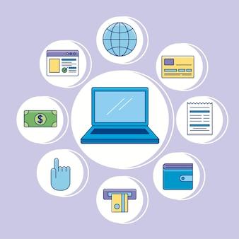 Laptop com pagamentos online e conjunto de ícones de dinheiro