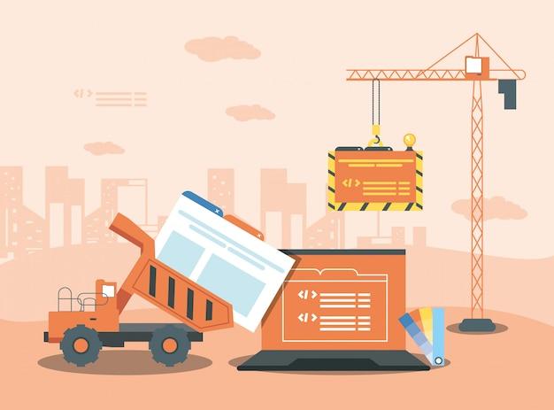 Laptop com página da web em construção