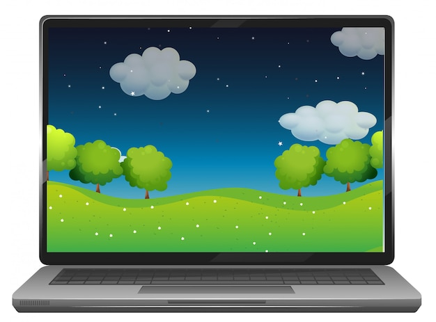 Laptop com parque à noite, fundo da área de trabalho
