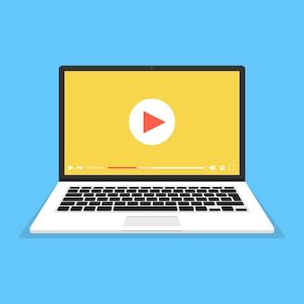 Laptop com player de vídeo na tela