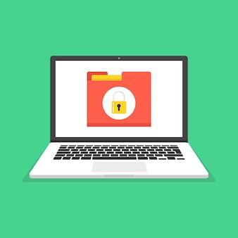 Laptop com proteção de arquivos na tela