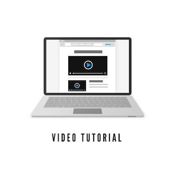 Laptop com site no monitor