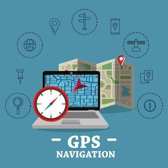 Laptop com software de navegação gps