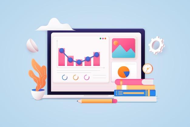 Laptop com tabelas e gráficos, análise de dados financeiros de negócios, moedas de dólar, marketing online isolado em fundo rosa pastel, ilustração 3d ou renderização 3d