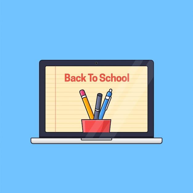 Laptop com tela de papel de fundo e ilustração de ferramentas do aluno para o conceito de educação à distância de aula on-line de volta às aulas
