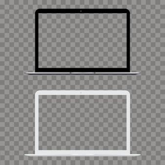 Laptop com tela transparente simulada acima. vetor.