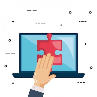 Laptop com trabalho em equipe jogo de quebra-cabeça