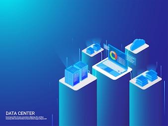 Laptop conectado com quatro servidores diferentes.