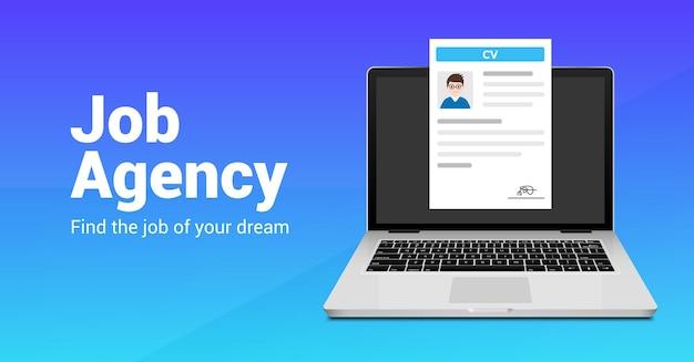 Laptop da agência de pesquisa de empregos. retomar a entrevista do conceito de contratação on-line da cv. recrutamento de funcionários de carreira.