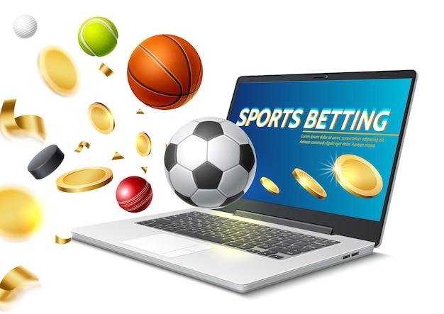 Laptop de apostas esportivas online com bolas de tênis de basquete e futebol voando com moedas de ouro