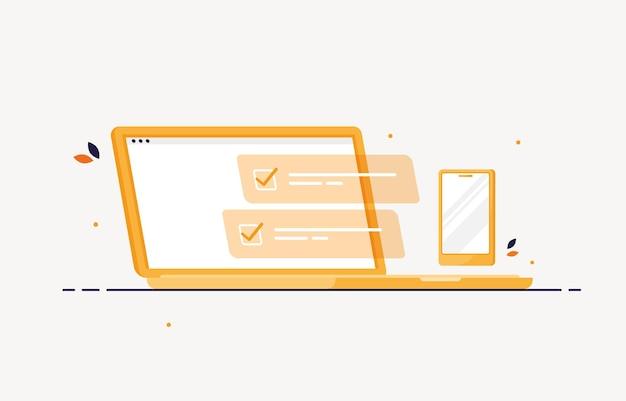 Laptop de computador e telefone celular com lista de tarefas concluída