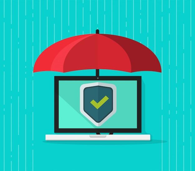 Laptop de computador plana dos desenhos animados protegido via guarda-chuva e escudo de segurança na ilustração vetorial de tela