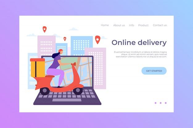 Laptop de entrega on-line, ilustração de pouso. o comércio eletrônico torna as compras rápidas e convenientes. compre mercadorias pelo correio.